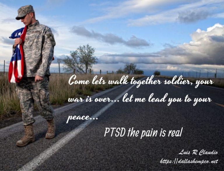 US Veteran walking... We honor our Veterans... Dallas Hemp Company